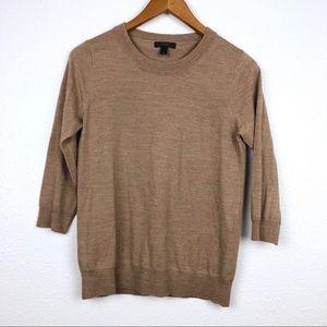 J. Crew brown merino wool crewneck sweater small